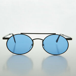 Steampunk Oval Vintage Glasses with Blue Lenses Black - Hendrix