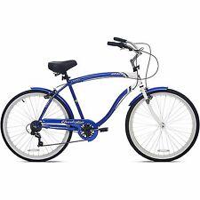 """26"""" Men's BCA Cruiser Bike Blue Steel Frame Comfort Bicycle 7 Speed Fenders New"""