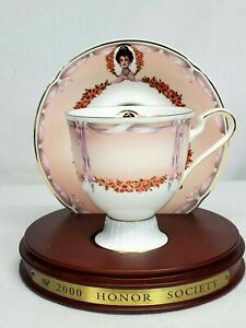 Avon Commemorative Mrs Albee 2000 Honor Society Tea Cup Saucer Set With Stand Ebay