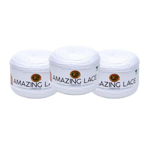 Doily White Pack of 3 Cakes Lion Brand Yarn 213-100 Amazing Lace Yarn