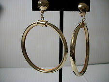 """3"""" gold thick hoop clip on earrings non pierced basketball wives"""