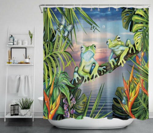 Tropical Leaves Frogs Butterfly Sea Sunrise Waterproof Fabric Shower Curtain Set