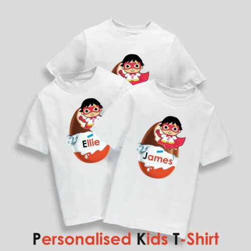 Kids Personalised Name Easter Egg Kinder Ryans World Inspired Printed T-Shirt
