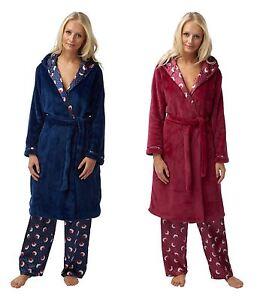 Image is loading Ladies-Robin-Hooded-Robe-Fleece-Dressing-Gown-Nightwear- d66ce1d56