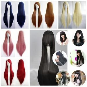 New-Fashion-Women-039-s-Wigs-Long-Straight-Hair-Cosplay-Costume-Party-Wig-80cm-100cm
