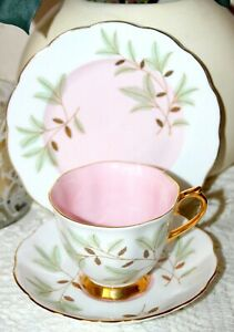 Vintage-Royal-Vale-Bone-China-Tea-Cup-Saucer-Side-Plate-Braemar-Pink-and-Gold