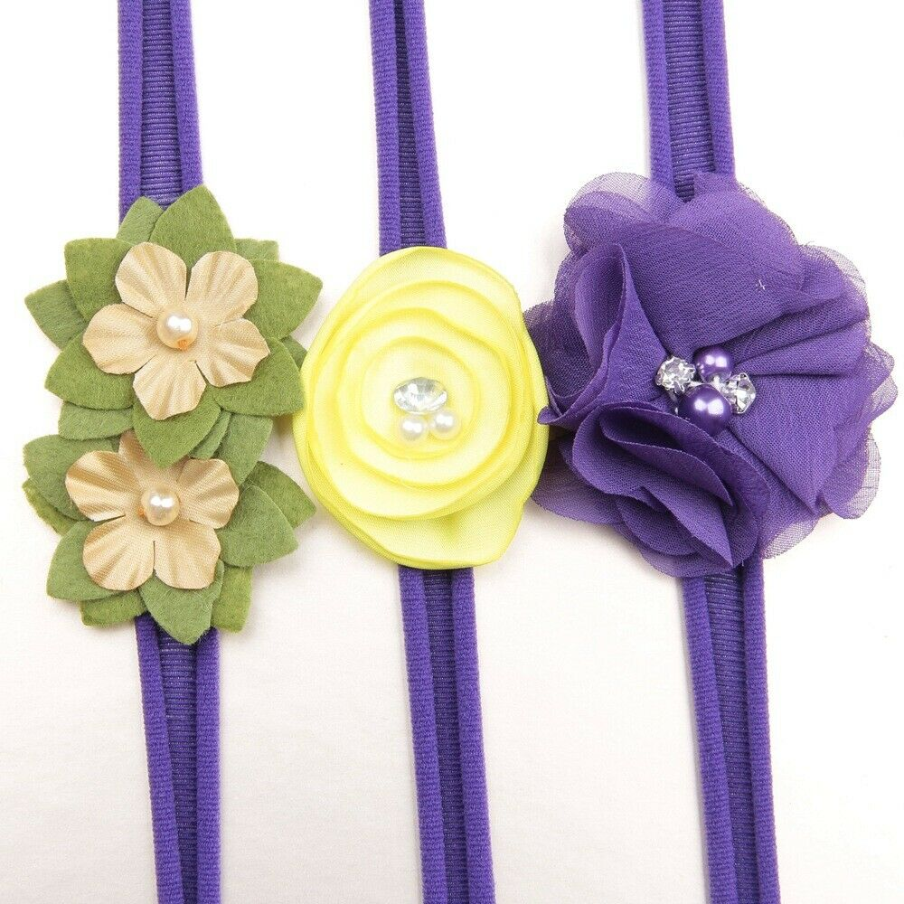 3Pcs/lot Newborn Girl Baby Headband Ribbon Elastic Headdress Kids Hair Band Bow 12