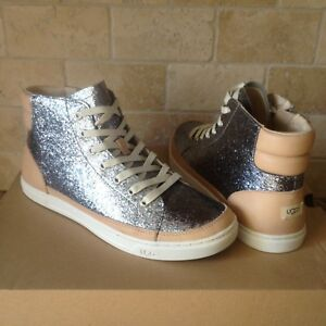 53341ecb395 Details about UGG GRADIE GLITTER GUNMETAL LEATHER HI-TOP SNEAKERS SHOES  SIZE US 11 WOMENS