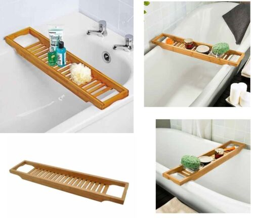 Bamboo Over Bath Rack Tidy Bathroom Storage Stand Tray Bathtub Shower Caddy New