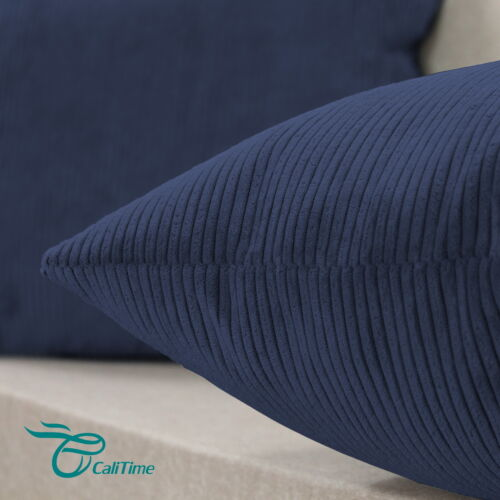 2Pcs Cushion Cases Throw Pillows Covers Solid Corduroy Stripes Navy Blue 20x20/""