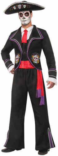 Mens Day Of The Dead Mariachi Macabre Costume Adult  Skulls Mexican Festival New