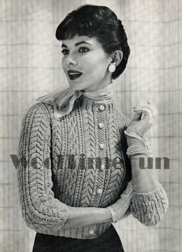 cuello redondo. Tejer patrón Vintage 1950s Cable de Señora Cardigan//Chaqueta