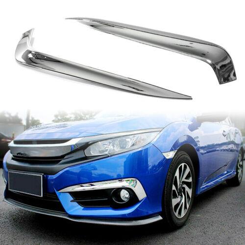 2pcs Chrome Front Fog Light Eyelid Strips Molding Trim For Civic 2016-2020 10th