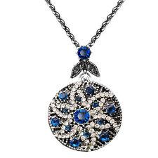 Vintage Style Dark Blue Silver Flower Star Sun Pendant Corn Chain Necklace N488