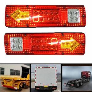 2x-12V-LKW-Anhaenger-Rueckleuchte-Ruecklicht-Heckleuchte-Bremsleuchte-19-LED-Neu