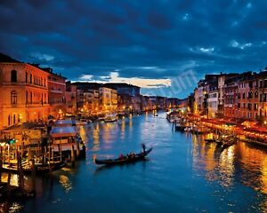 Quadro-legno-50-x-40-cm-stampa-in-alta-qualita-paesaggio-Venezia-canale-gondola