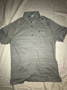 Men-039-s-Travis-Mathew-Short-Sleeved-Pima-Cotton-Poly-Striped-Polo-Golf-Shirt-Large