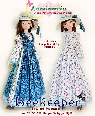 "PDF Doll Clothes Pattern Fits 21.5/"" SD Kaye Wiggs 1//3 BJD Dolls Dress Iplehouse"