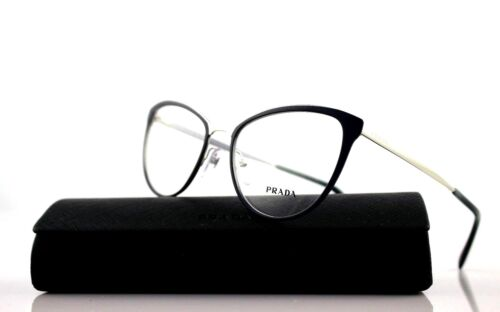 New Authentic PRADA CINEMA Blue Silver Eyeglasses Frame 0PR 55TV U6R1O1