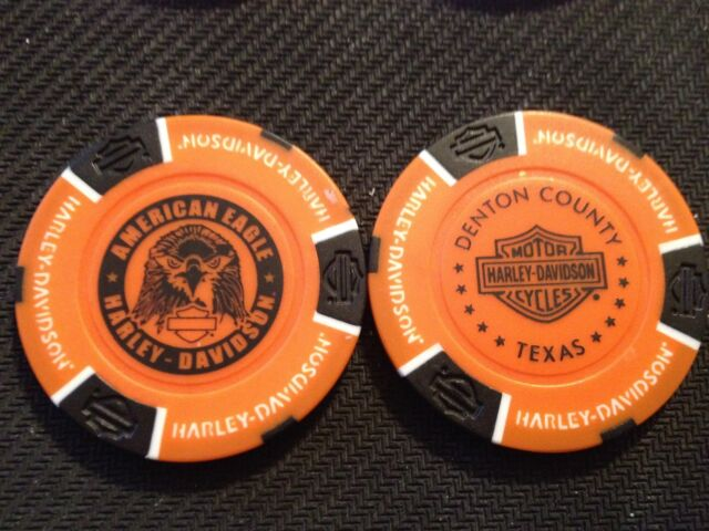 "Harley Poker Chip (Orange & Black NEW DESIGN) ""American Eagle"" Corinth, Texas"
