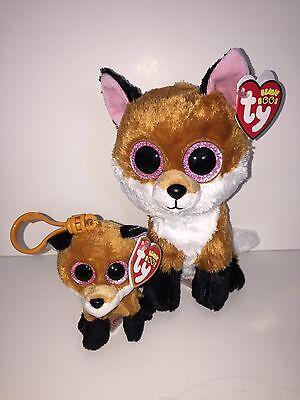 TY SLICK FOX BEANIE BOOS KEY CLIP,NEW w//TAG-SUPER CUTE-**IN HAND**