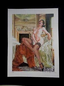 "Milo Manara ( Art Print ) "" le Sofa 2 "" , Epreuve d'Artiste + Belle Signature"