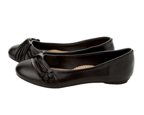 WOMENS BLACK SMART WORK OFFICE FLAT BALLET DOLLY PUMPS SHOES LADIES UK SIZE 3-8