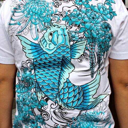 Mens T-Shirt Japanese Pattern Embroidery Short Sleeve Tee Carp Koi Black White