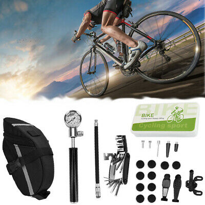 Bicycle MTB Repair Tools Kit Set Mountain Bike Cycle Puncture Tyre Pump with Bag