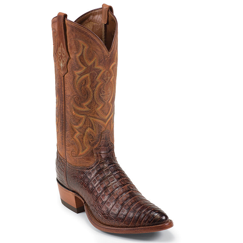 Tony Lama para Hombre botas Cowboy Coñac Vintage vientre Caiman Mediano Punta rojoonda - 1052
