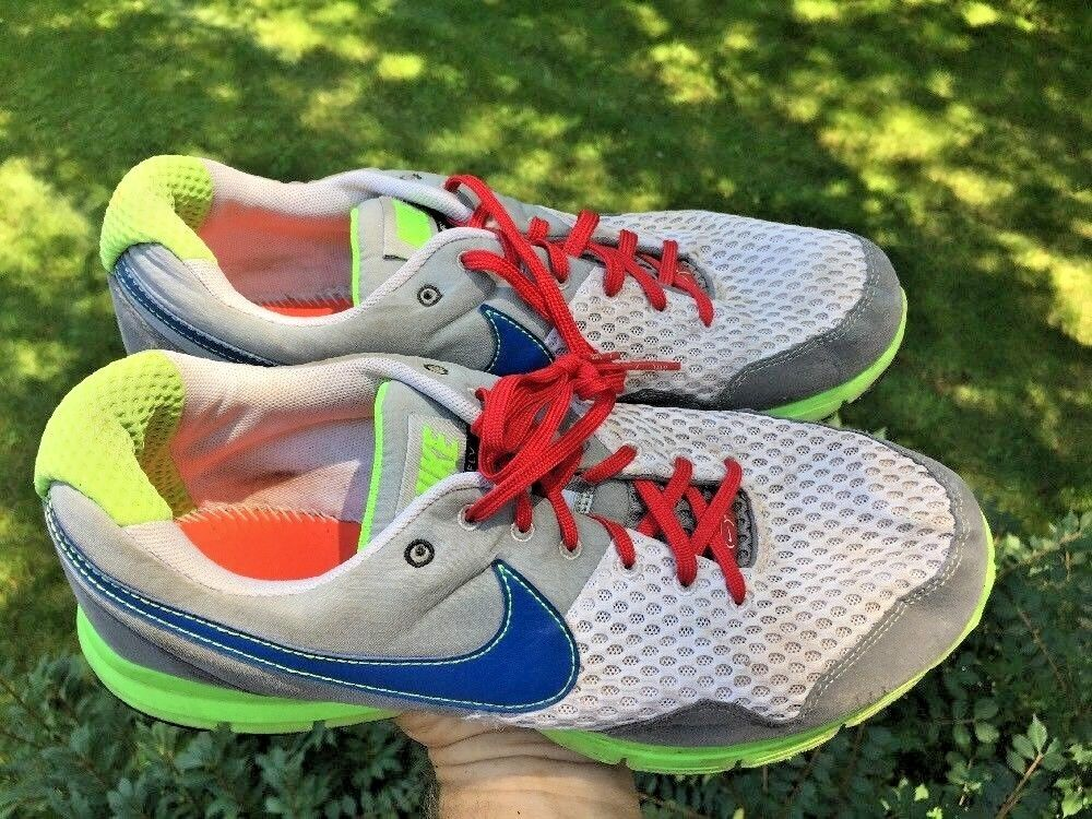 NIKE LUNAR FLY Knit Running White Lime Green Navy bluee bluee bluee Mens shoes Size 11.5 edff71