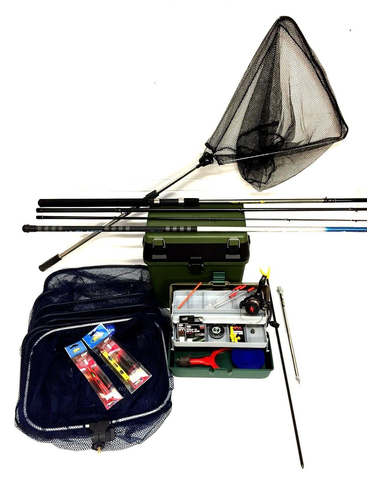 Drijf bij de visserijKit zet Okuma 12 ft Rod, Reel, Box Tackle Rigs Pole
