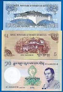 Lot of 10 Bank Notes from Bhutan Uncirculated Two Types
