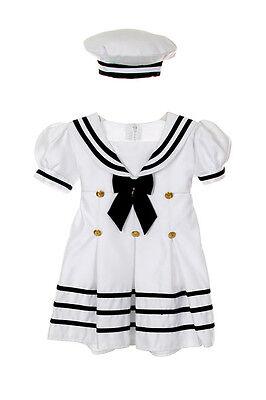 Infant Toddler Girl Navy Sailor Wedding Party Satin Dress Outfit Sz S-XL 2T-4T 1