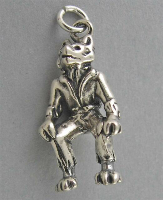 New Sterling Silver Charm Pendant 3D WOLFMAN WEREWOLF HALLOWEEN 3049