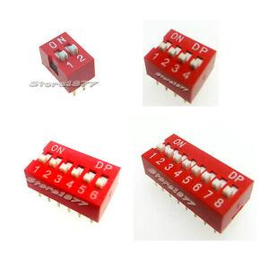 Lot of 40pcs  2, 4 ,6 ,8 Position DIP Switch Assorted Kit (Each Value 10pcs)