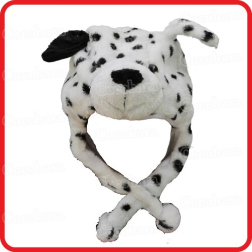 DALMATIAN DOG ANIMAL CARTOON PLUSH FLUFFY HOODED HAT CAP BEANIE EARMUFF-COSTUME