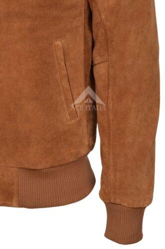 RETRO BOMBER Men/'s Tan PLAIN SUEDE Cool Classic Soft Italian Leather Jacket 275