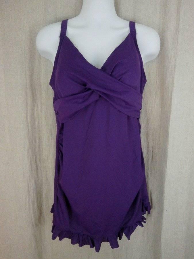 Roman's Womens 20W Swimdress 1PC Swimsuit Purple Tummy Panel
