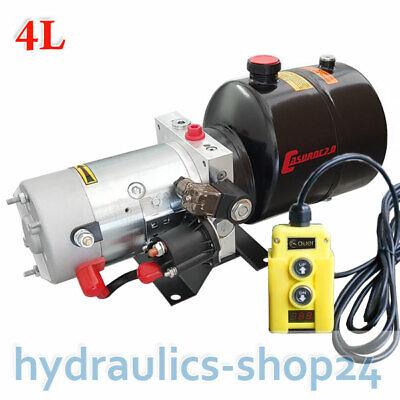 4L Hydraulikaggregat Hydraulik Pumpe Mit Funk 12V 2000W Batteriekabel Kipper