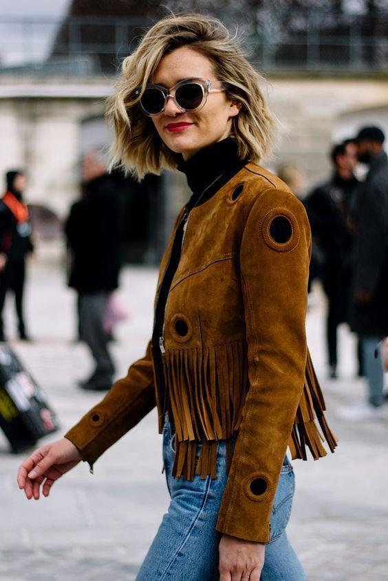 Veste en cuir frangée à la main de cowboy de style occidental traditionnel de