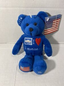 I Love America Stamp Blue Bear Beanie With Tags 1776