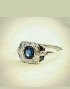 Vintage-3-11Ct-Sapphire-Diamond-Antique-Art-Deco-Engagement-Cluster-Ring