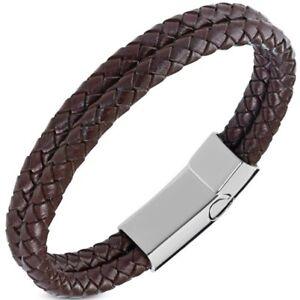 Edles-Leder-Armband-Herren-Damen-doppelt-rund-Rindsleder-geflochten-Autiga