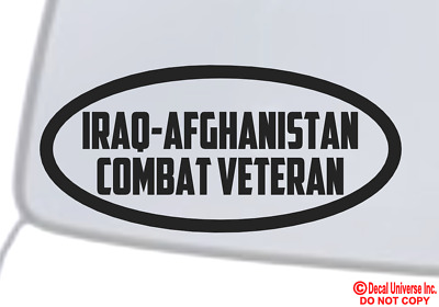 IRAQ AFGHANISTAN COMBAT VETERAN Vinyl Decal Sticker Window Bumper Military War