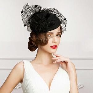Black-Veil-Women-039-s-Formal-Gown-Ball-Hat-Wool-Blend-Cocktail-Race-Hat-Cap-Dress