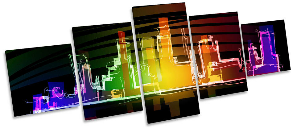 Neon Cityscape Modern Funky MULTI CANVAS WALL ART Box Frame Picture