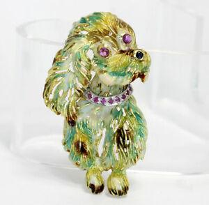 Vintage-ruby-sapphire-enamel-puppy-dog-pin-brooch-18K-cocker-spaniel-cavalier-5