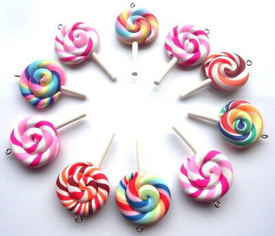 FAST FREE P/&P NEW! 12 GORGEOUS LOLLIPOP MULTICOLOUR CHARMS POLY CLAY FIMO