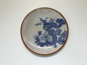 Japanese-Pottery-Dish-Plate-Vtg-Old-Imari-Ware-Sometsuke-Flower-Plum-Kannyu-q290
